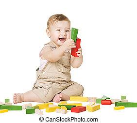 desarrollo, concepto, niño, niños, blocks., juguetes, juego
