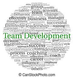 desarrollo, concepto, palabra, etiqueta, equipo, nube