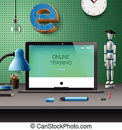 desarrollo, entrenamiento, concepto, educación, en línea