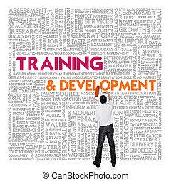 desarrollo, entrenamiento, palabra, finanzas, concepto de la corporación mercantil, nube