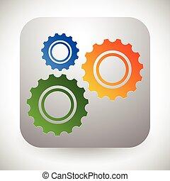 desarrollo, gráficos, mantenimiento, icono, engranajes, fabricación, ruedas dentadas, concepts., reparación
