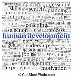 desarrollo humano, concepto, en, etiqueta, nube, blanco,...