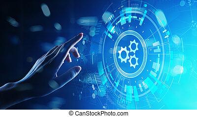 desarrollo, industrial, empresa / negocio, workflow, automatización, screen., virtual, proceso, concepto, optimisation, software
