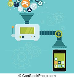 desarrollo, móvil, app, vector, teléfono