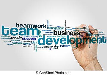 desarrollo, palabra, nube, equipo
