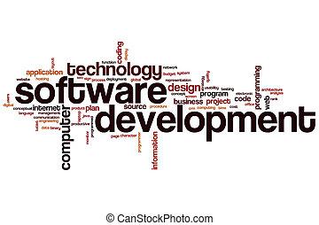desarrollo, palabra, nube, software