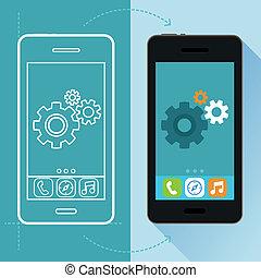 desarrollo, plano, estilo, concepto, app, vector