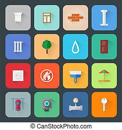 desarrollo, plano, estilo, iconos, largo, vector,...