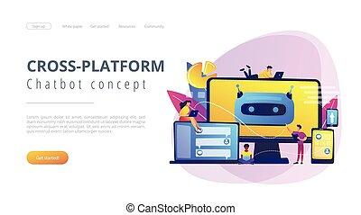 desarrollo, platformconcept, chatbot, page., aterrizaje