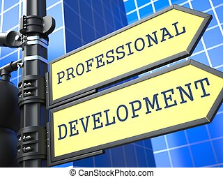 desarrollo, profesional, concept., signo., empresa / negocio