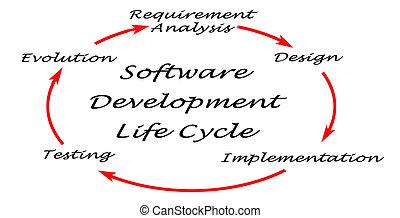 desarrollo, (sdlc), vida, software, ciclo
