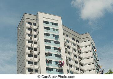 desarrollo, singapur, caja, apartamentos, tabla, (hdb), apartamentos
