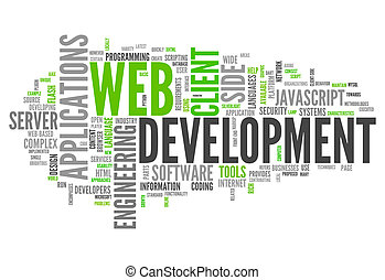 desarrollo, tela, palabra, nube