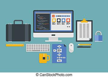 desarrollo, tela, programación