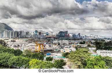 desarrollo, urbano, hong, viejo, kong's, sitio, aeropuerto