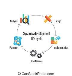 desarrollo, vida, sistema, ciclo