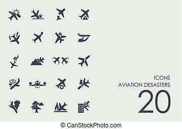 desasters, set, luchtvaart, iconen