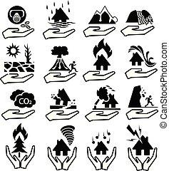 desastre, conjunto, natural, seguro, icono