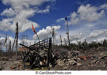 desastre, destruido, casa