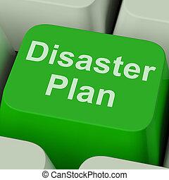 desastre, emergencia, protección, plan, llave, crisis, ...