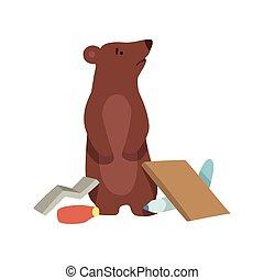 desastre, global, oso, plástico, desperdicio, ambiental, ecológico, vector, ilustración, plano de fondo, blanco, problema