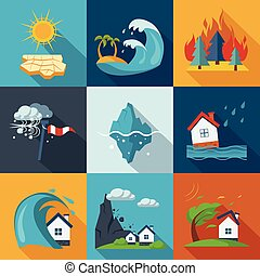 desastre natural, ícones