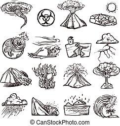 desastre natural, conjunto, icono, bosquejo