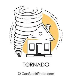 desastre natural, tornado, casa, aislado, roto, icono