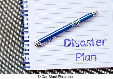 desastre, plano, escreva, ligado, caderno