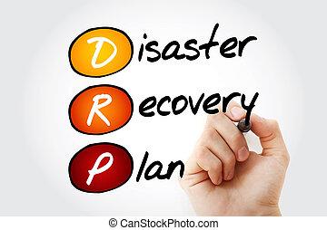desastre, recuperação, plano, com, marcador