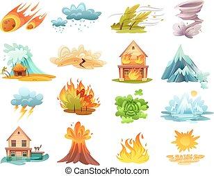 desastres, caricatura, conjunto, natural, iconos