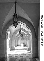 Desaturated details of Sultan Qaboos mosque