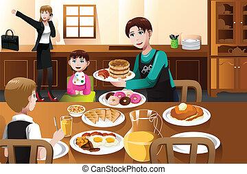 desayunándose, padre, hogar, estancia, el suyo, niños