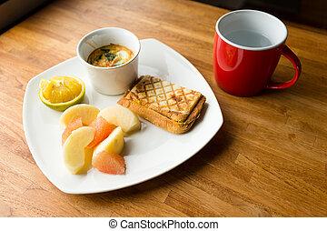 desayuno, con, taza, de, agua