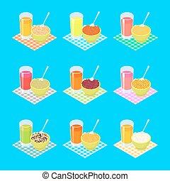 desayuno, conjunto, 2., gachas de avena, y, fruta, juice., sano, comida., vector, ilustración