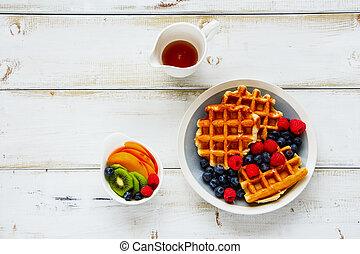 desayuno, conjunto, con, barquillos