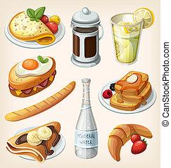desayuno, conjunto, francés, elementos
