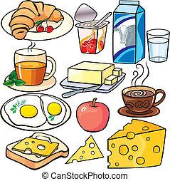 desayuno, conjunto, iconos