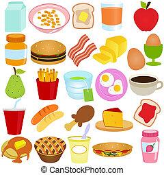 desayuno, /, conjunto, vector, almuerzo