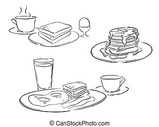 desayuno, estilo, dibujos