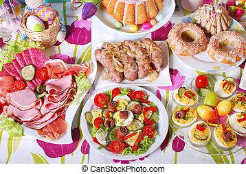 desayuno, festivo, tradicional, pascua, tabla