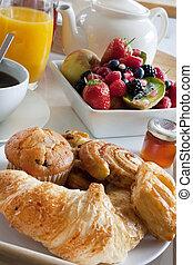 desayuno, gusto, con, fruta, y, pasteles
