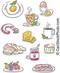 desayuno, ilustraciones