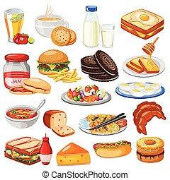 desayuno, menú, alimento, colección