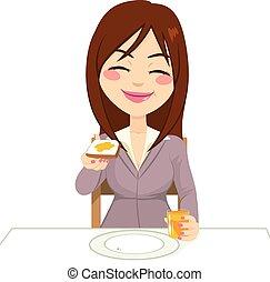 desayuno, mujer, teniendo, feliz