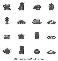 desayuno, negro, iconos