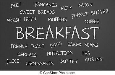 desayuno, palabra, nube