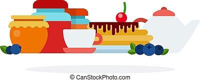 desayuno, productos, plano, conjunto, utensilios, aislado