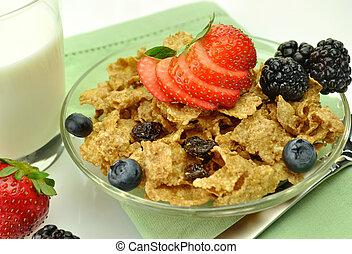 desayuno, salvado, cereal, pasa, sano