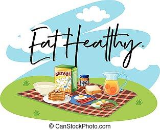 desayuno sano, conjunto, palabra, comer